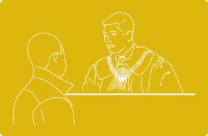 Grafika z sędzią i osoba starającą się o odzyskanie prawa jazdy.