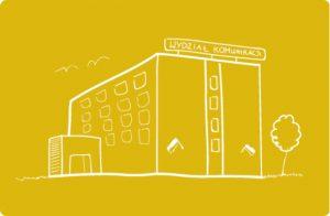 Grafika z budynkiem wydziału komunikacji, gdzie zdaje się egzamin na prawo jazdy.