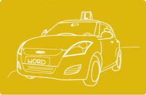 Grafika z elką - samochodem do zdawania egzaminu na prawo jazdy.